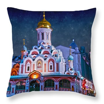 Kazan Cathedral. Red Square. Moscow Russia Throw Pillow by Juli Scalzi