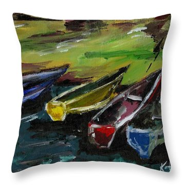 Kazinga Channel Boats Throw Pillow