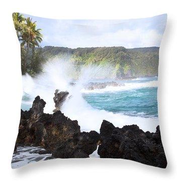 Keanae Lava Rocks Throw Pillow by Jenna Szerlag