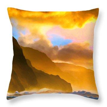 Ke'e Beach Sunset Throw Pillow