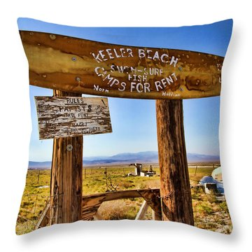 Keeler Beach Camping By Diana Sainz Throw Pillow