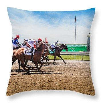 Keeneland Racing Throw Pillow by Keith Allen