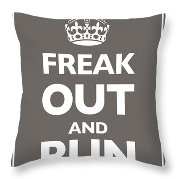 Keep Calm And Carry On Parody Brown Throw Pillow by Tony Rubino