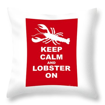 Keep Clam And Lobster On Throw Pillow by Julie Knapp