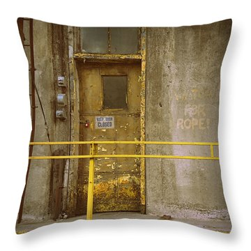 Throw Pillow featuring the photograph Keep Door Closed by Joseph Skompski