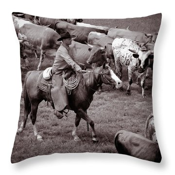 Keep Em Moving Throw Pillow by Toni Hopper