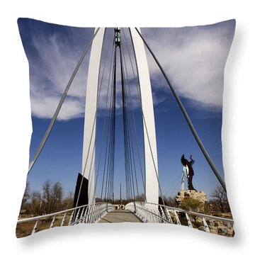 Keeper Of The Plains Bridge View Throw Pillow