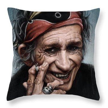 Keith Richards Throw Pillow by Andre Koekemoer