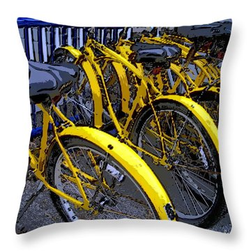 Kelley Island Bikes Throw Pillow by Joan  Minchak