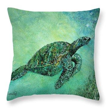 Kelp Forest Sea Turtle Throw Pillow