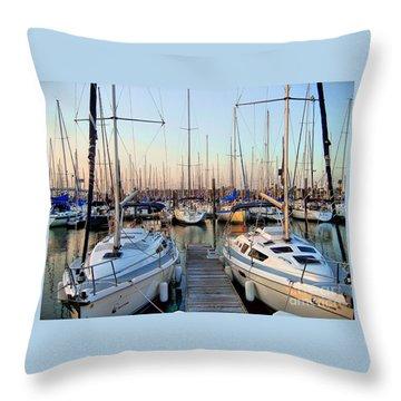 Kemah Boardwalk Marina Throw Pillow