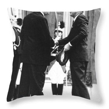 Kennedy & De Gaulle Meet Throw Pillow