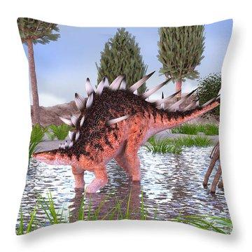 Kentrosaurus Pair In Water Throw Pillow