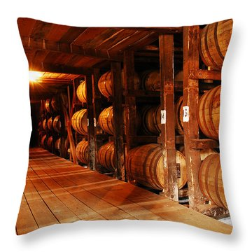 Kentucky Bourbon Aging In Barrels Throw Pillow