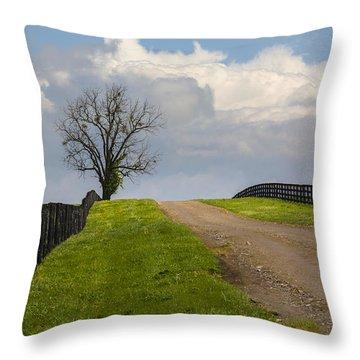 Kentucky Horse Farm Road Throw Pillow