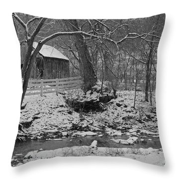 Kentucky Snow Throw Pillow by Mary Carol Story