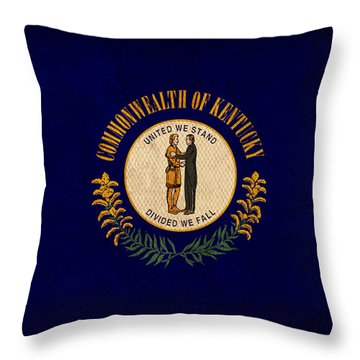Kentucky State Flag Art On Worn Canvas Throw Pillow by Design Turnpike