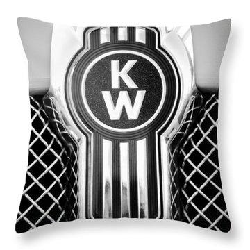 Kenworth Truck Emblem -1196bw Throw Pillow