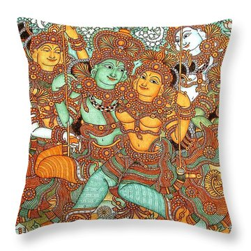 Kerala Mural Painting Throw Pillow by Pg Reproductions