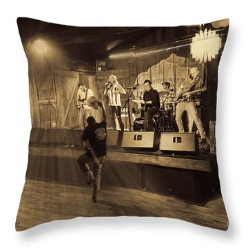 Keri Leigh Singing At Schmitt's Saloon Throw Pillow by Dan Friend