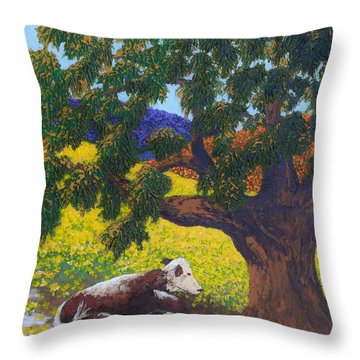 Kern County Cow Throw Pillow