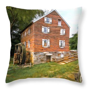 Kerr Grist Mill Throw Pillow by Marion Johnson