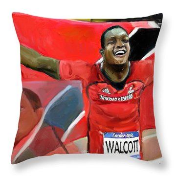 Keshorn Walcott Throw Pillow by Vannetta Ferguson