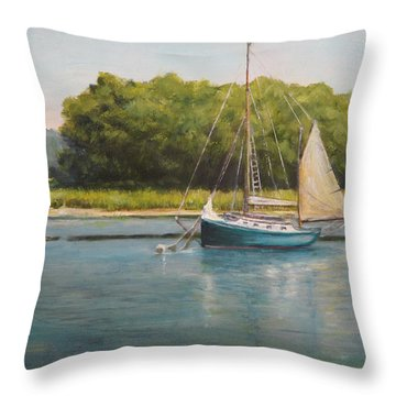 Ketch At Anchor Throw Pillow
