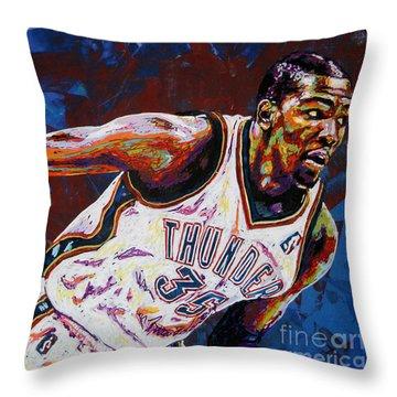 Kevin Durant Throw Pillow by Maria Arango