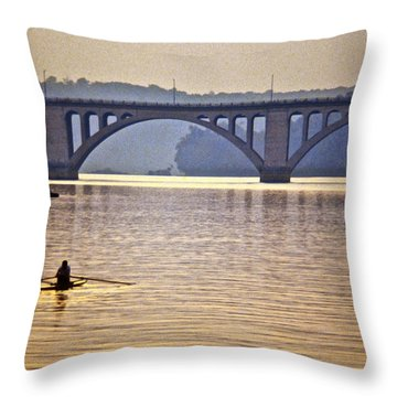 Key Bridge Rower Throw Pillow