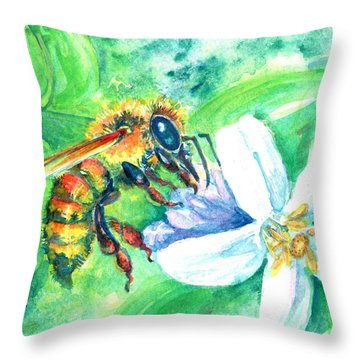 Key Lime Honeybee Throw Pillow