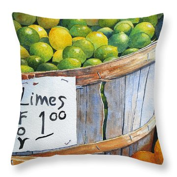 Throw Pillow featuring the painting Key Limes Ten For A Dollar by Roger Rockefeller