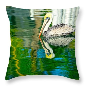 Throw Pillow featuring the photograph Key Pelican by Pamela Blizzard