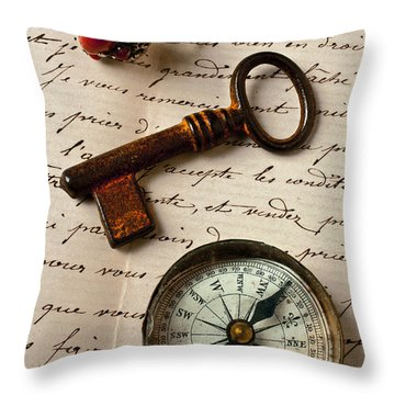 Key Ring And Compass Throw Pillow by Garry Gay