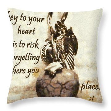 Key To Your Heart Throw Pillow by Lorri Crossno