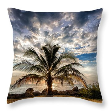 Key West Florida Lone Palm Tree  Throw Pillow