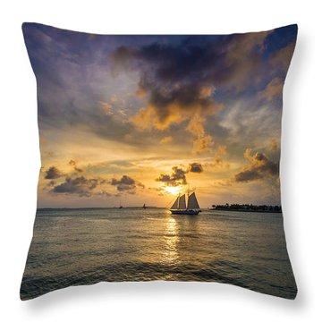 Key West Florida Sunset Mallory Square Throw Pillow