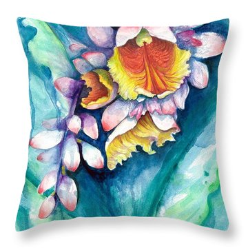 Throw Pillow featuring the painting Key West Ginger by Ashley Kujan