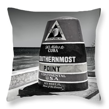 Key West Cuba Distance Marker Throw Pillow