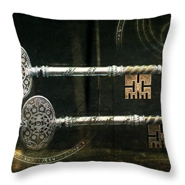 Keys To My Heart Are Silver And Gold Throw Pillow by Evie Carrier