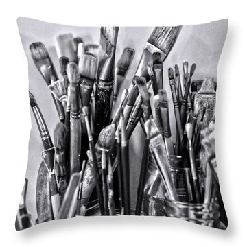 Keys To The Eye Of Life Bw By Denise Dube Throw Pillow