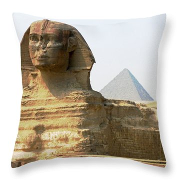 Khafra's Guardian Throw Pillow by Anthony Baatz