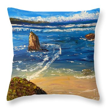 Throw Pillow featuring the painting Kiama Beach by Pamela  Meredith