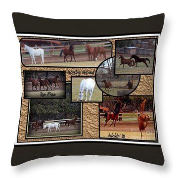 Horses Kickin It  Throw Pillow