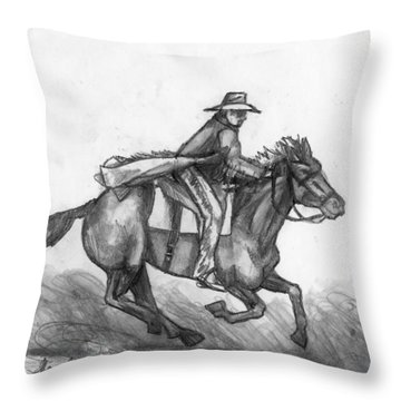 Throw Pillow featuring the drawing Kickin Up Dust by Shana Rowe Jackson