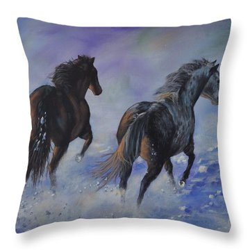 Kicking Up Snow Throw Pillow