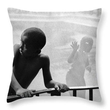 Kid In Sprinkler Throw Pillow