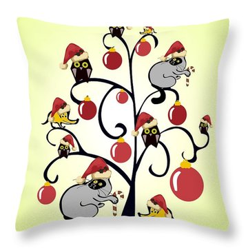 Kids Christmas Throw Pillow by Anastasiya Malakhova