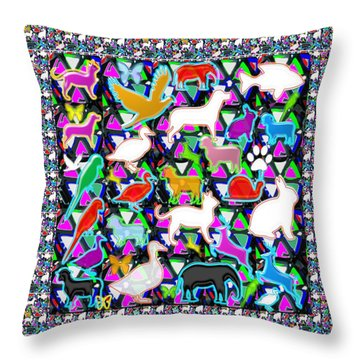 Kids Count The Birds Butterflies N Animals Circle Artistic Navin Joshi Rights Managed Images Graphic Throw Pillow by Navin Joshi