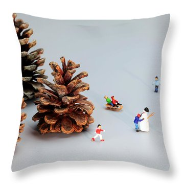 Kids Merry Christmas By Pinecones Throw Pillow by Paul Ge